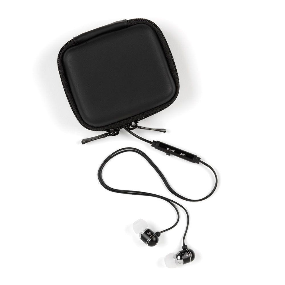 CE TECH Ear Bud Headphones with Microphone and Carrying Case