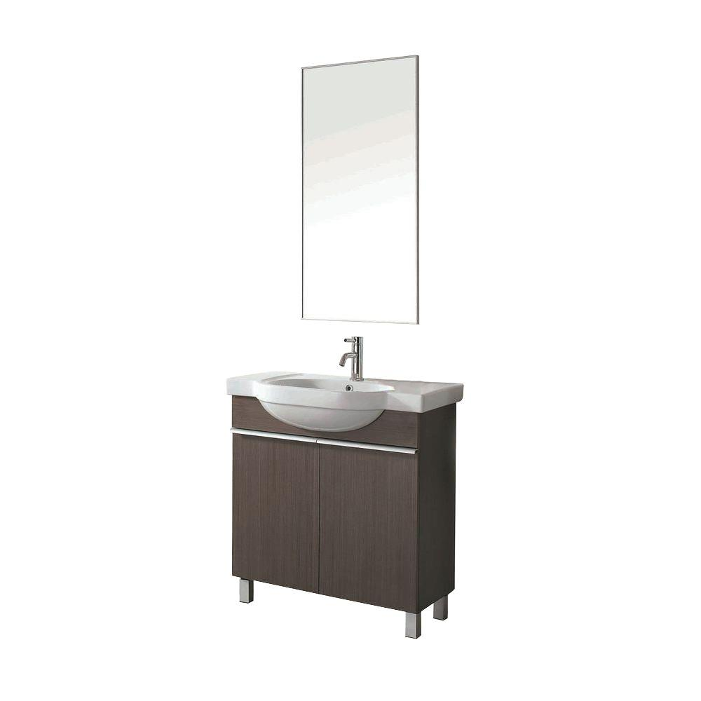 Dreamwerks 31.5 in. Vanity in Grey Oak Wood with Ceramic Vanity Top in White with White Basin and Mirror