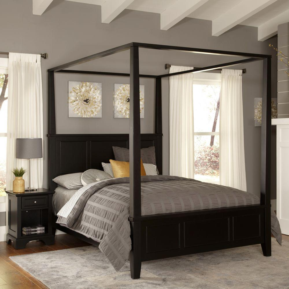 Homestyles Bedford Black Queen Canopy Bed 5531 510 The Home Depot