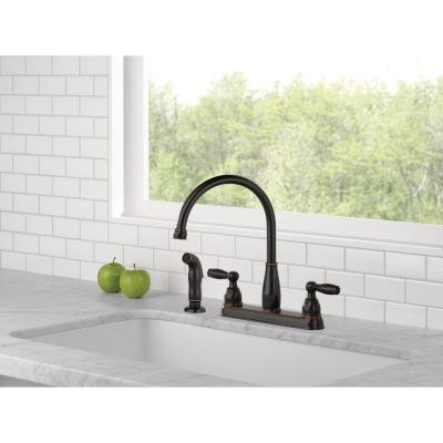Foundations 2-Handle Standard Kitchen Faucet with Side Sprayer in Oil-Rubbed Bronze