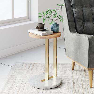 Wyatt Gold and White Round Wood Tabletop with Marble-Laminate Base End Table