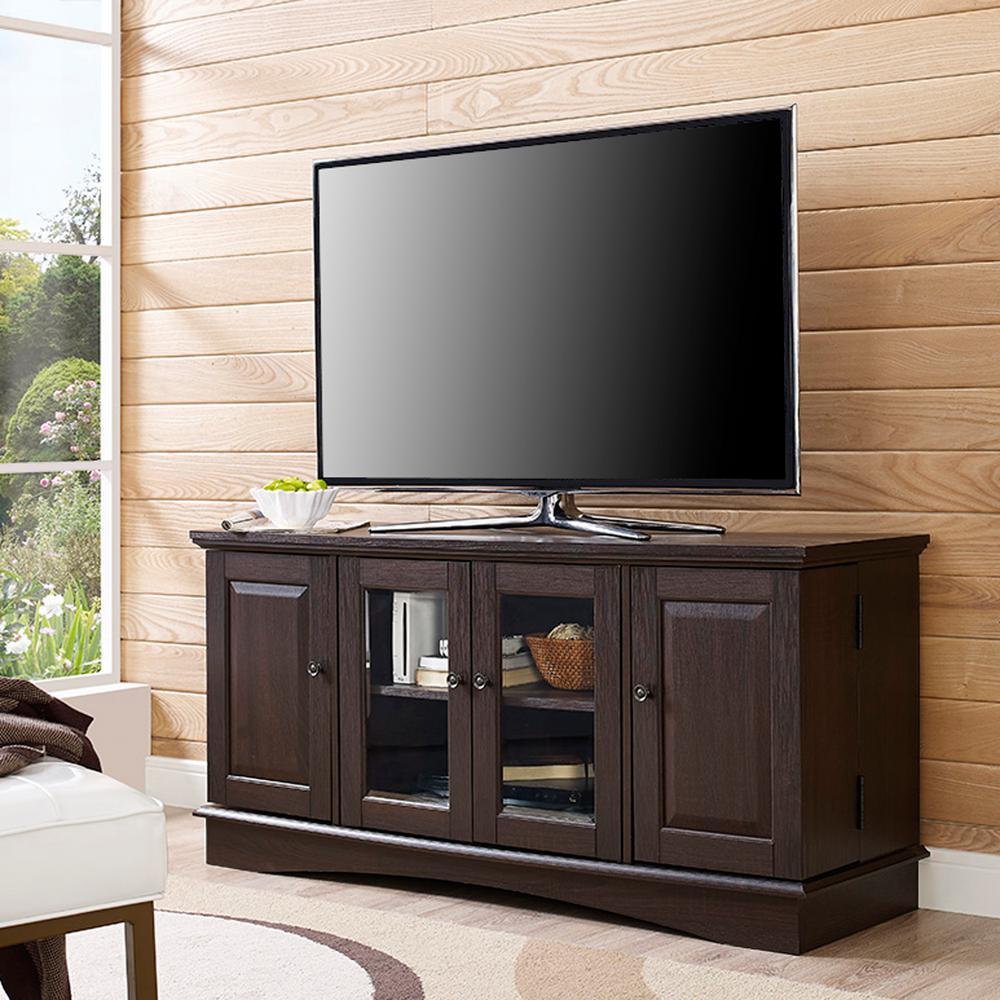 Walker Edison Furniture Company 52 In Espresso Wood Tv Media Stand Storage Console
