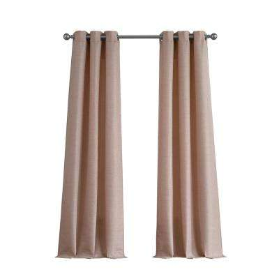 Raw Faux Silk Grommet 76 in. x 96 in. Curtain Panel Pair in Blush