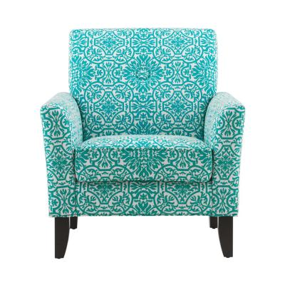 Alex Turquoise Green Damask Arm Chair