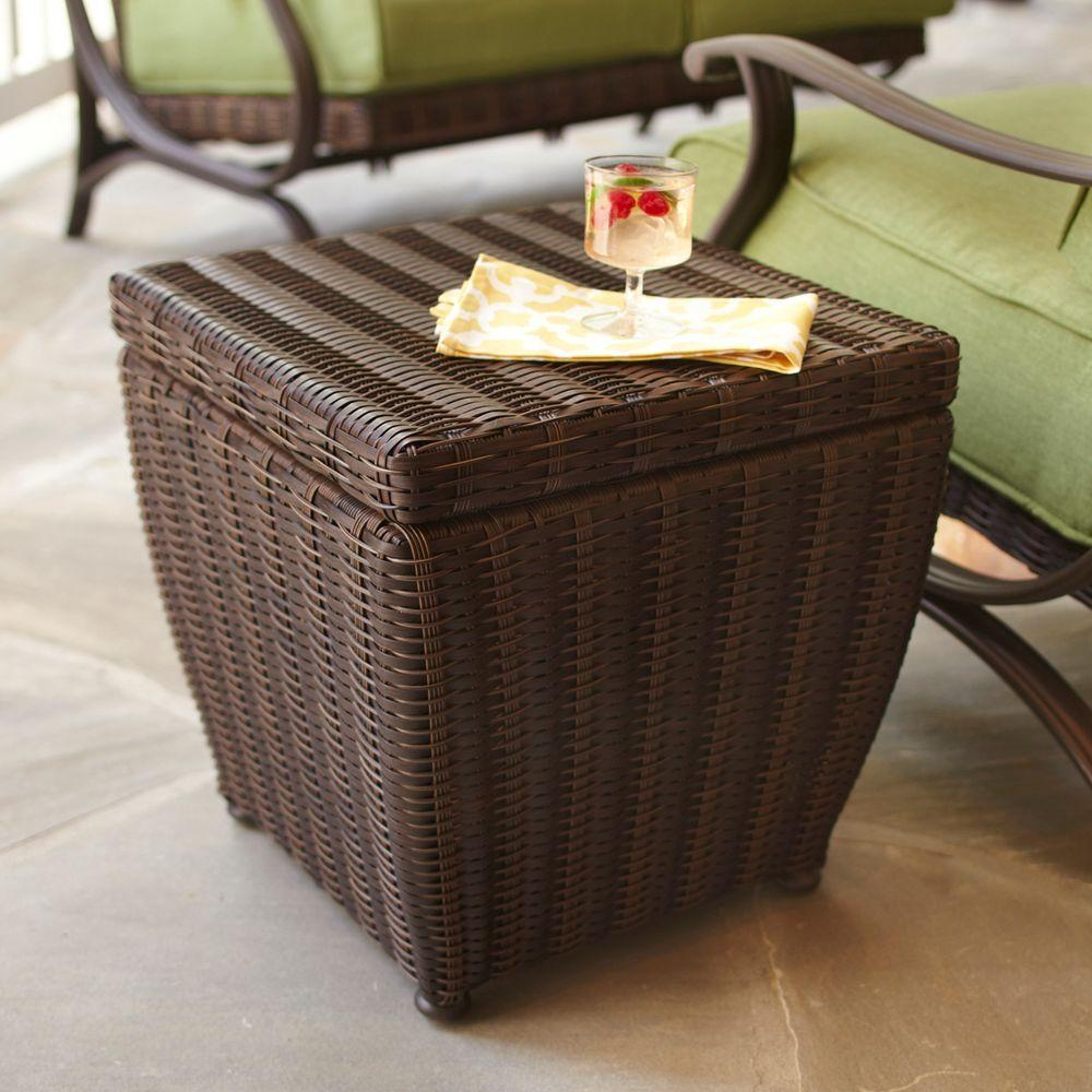 Hampton Bay Pembrey Brown All Weather Wicker Patio Storage Cube