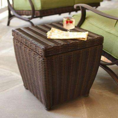 Wicker Patio Furniture Steel Outdoor Side Tables Patio Tables - All weather wicker side table