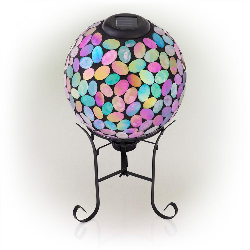 Alpine Corporation 17 in. Tall Solar Mosaic Gazing Ball with Metal Stand