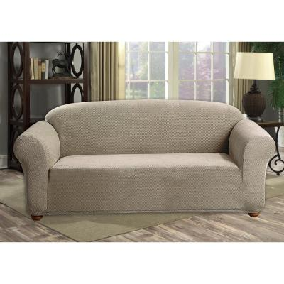 Hayden Water Resistant Taupe Fit Polyester Fit Sofa Slip Cover