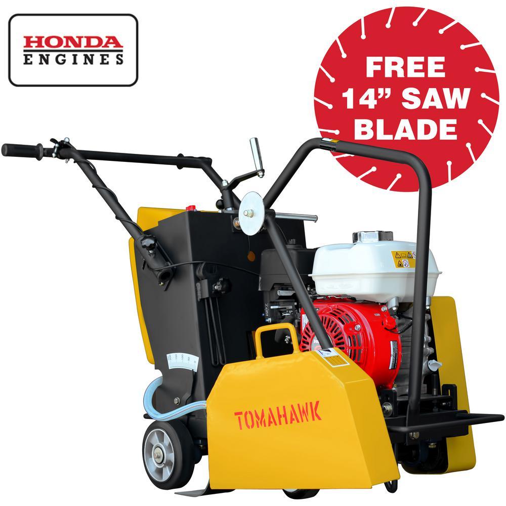 Tomahawk Power 14 in. 6.5 HP Honda Walk Behind Concrete Saw for Concrete and Asphalt Sawing w/ GX200 Honda Engine