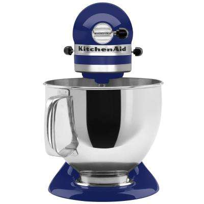 Artisan 5 Qt 10 Speed Cobalt Blue Stand Mixer With Flat Beater 6 Wire Whip And Dough Hook Attachments