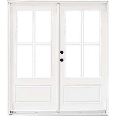 60 in. x 80 in. Fiberglass Smooth White Right-Hand Inswing Hinged 3/4-Lite Patio Door with 4-Lite GBG