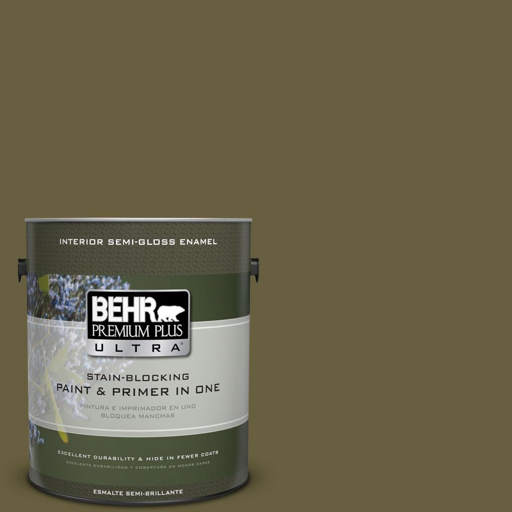 1-gal. #ICC-88 Classic Olive Semi-Gloss Enamel Interior Paint