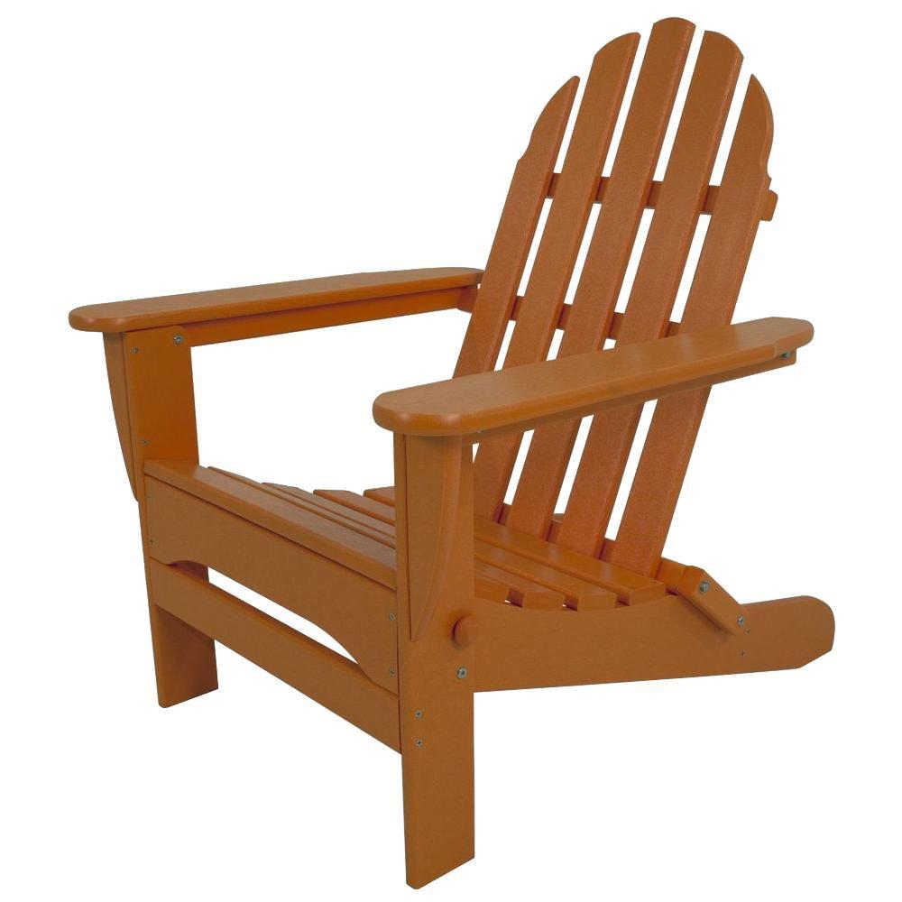 Classic Tangerine Plastic Patio Adirondack Chair