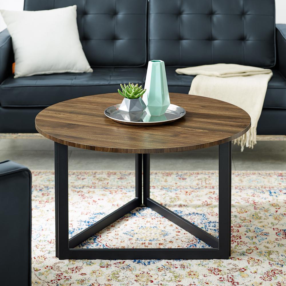 Welwick Designs 32 In Dark Walnut Medium Round Mdf Coffee Table Hd8126 The Home Depot