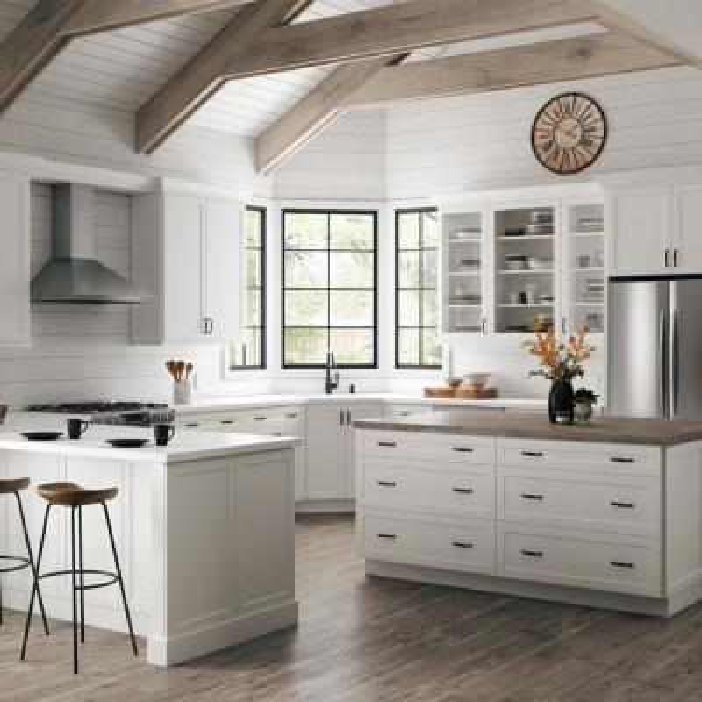 Designer Series Melvern Assembled 36x34.5x21 in. Full Door Height Bathroom Vanity Base Cabinet in White