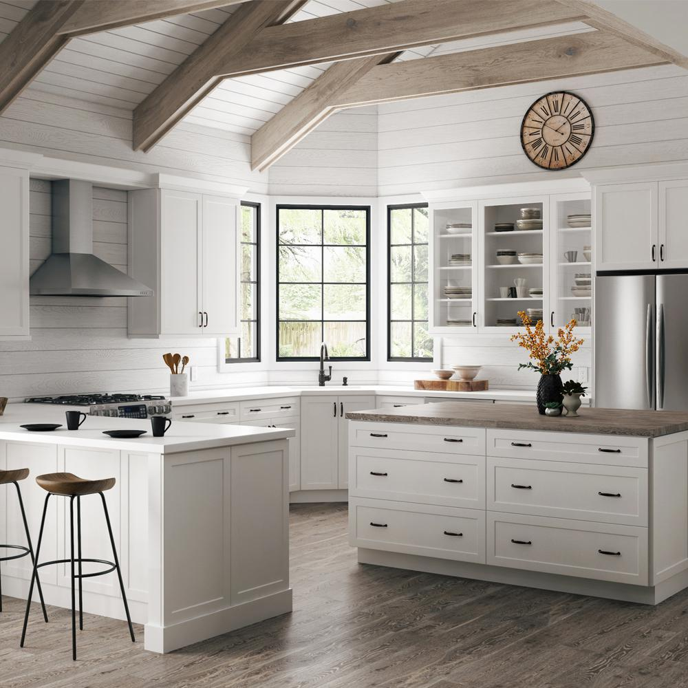 Hampton Bay Designer Series Melvern Assembled 36x36x12 in. Wall Kitchen  Cabinet with Glass Doors in White
