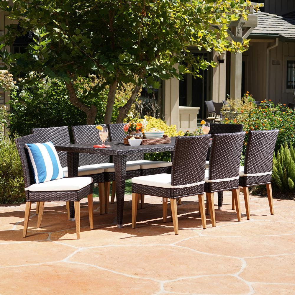 Multi-Brown 9-Piece Wicker Rectangular Outdoor Dining Set with Beige Cushion