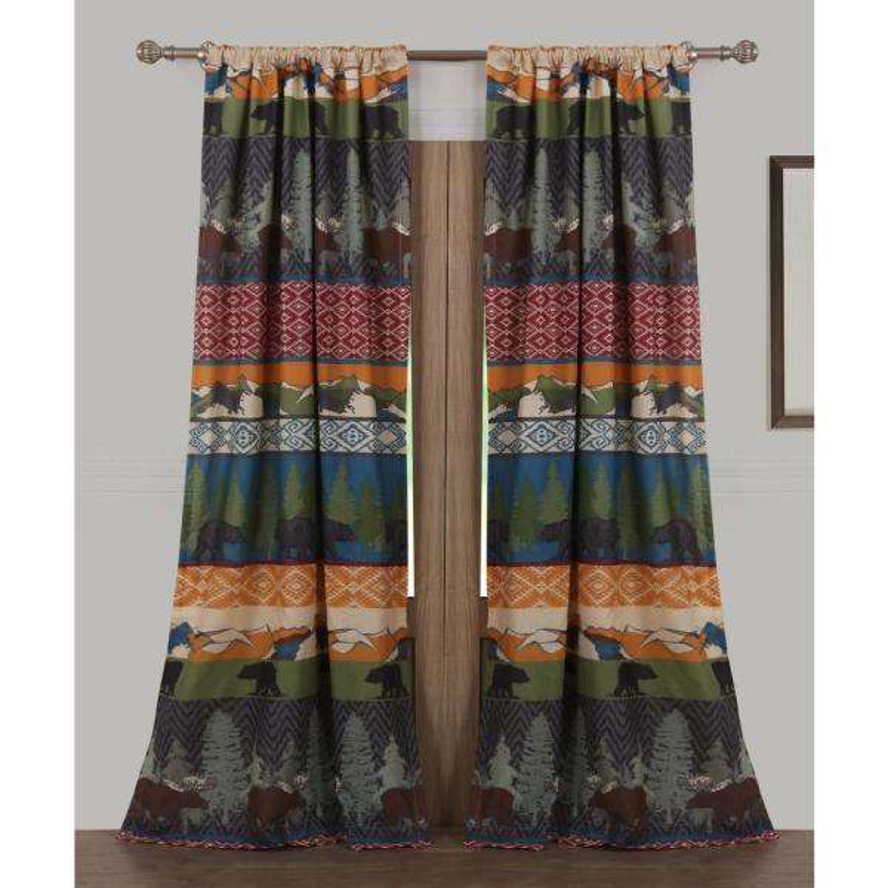 Black Bear Lodge Multi Polyester Window Panel Pair - 42 in. W x 84 in. L