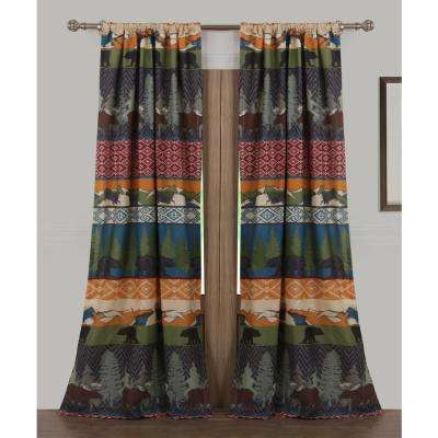 Black Bear Lodge Multi Polyester Window Panel Pair - 42 in. W x 84 in. L