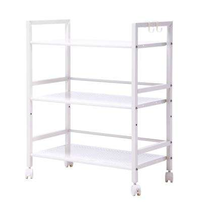 3-Tiers Iron Widen Multi-Functional Storage Cart Organizer Shelf in Ivory White