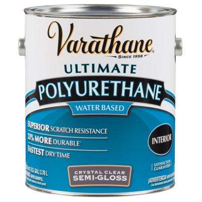 1 gal. Clear Semi-Gloss Water-Based Interior Polyurethane (2-Pack)