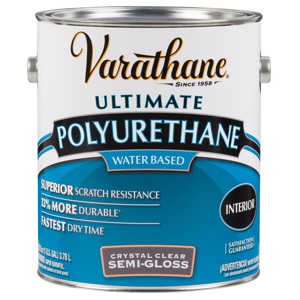 Varathane 1 gal. Clear Semi-Gloss Water-Based Interior Polyurethane (2-Pack)