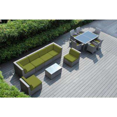 Gray 14-Piece Wicker Patio Combo Conversation Set with Spuncrylic Peridot Cushions