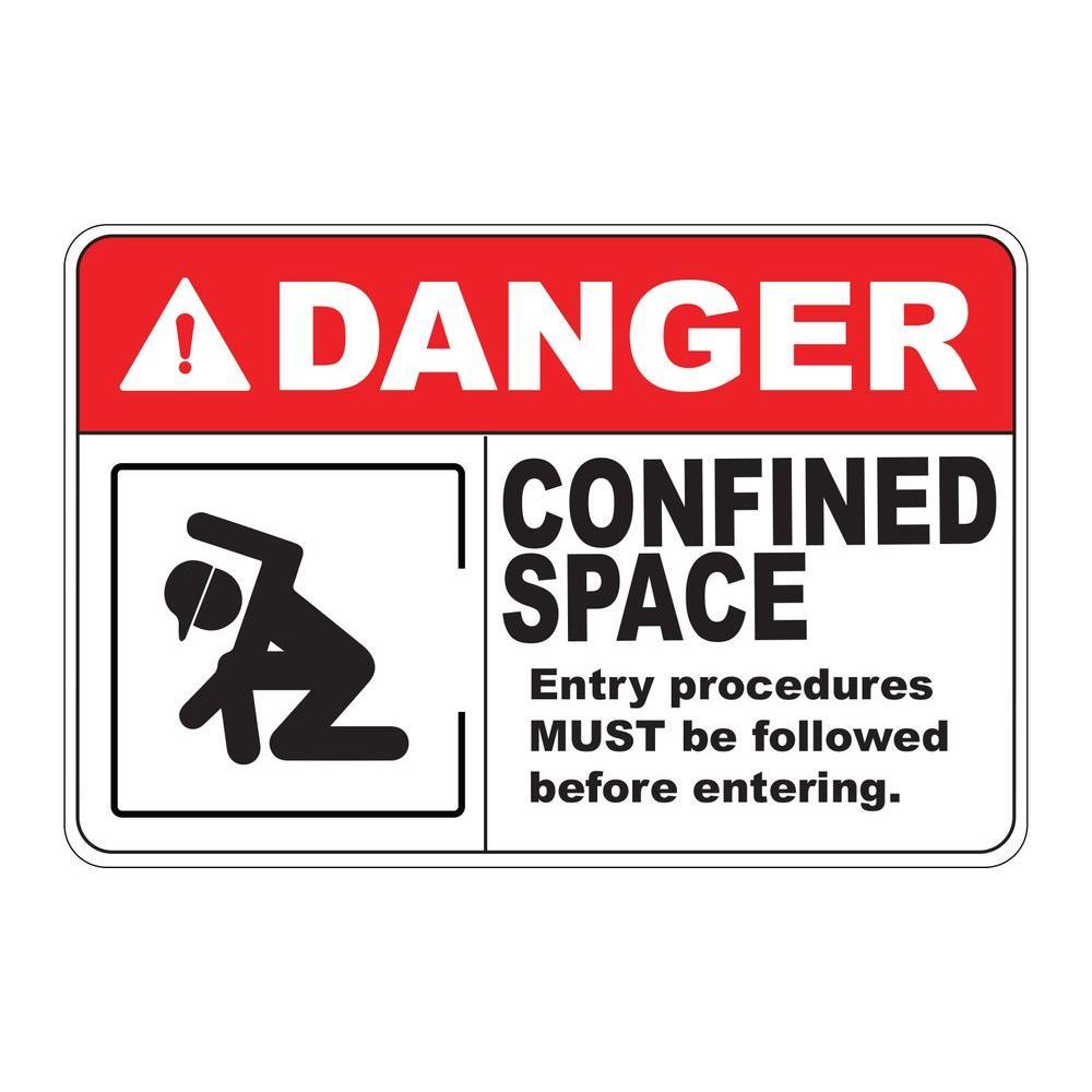 Rectangular Plastic Danger Confined Space Safety Sign Pse