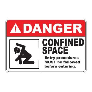 Rectangular Plastic Danger Confined Space Safety Sign by