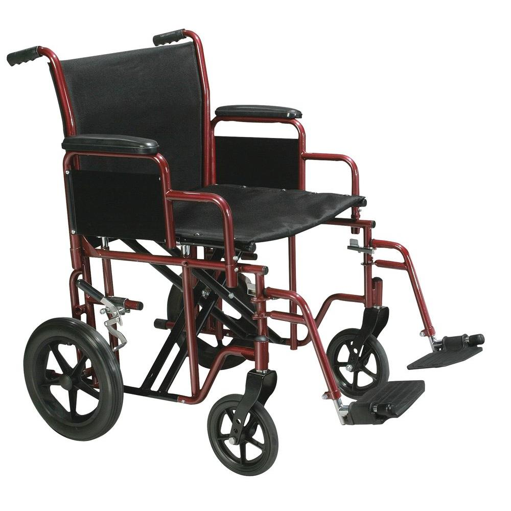 Bariatric Transport Wheelchair with Swing-Away Footrest in Red and 22 in.