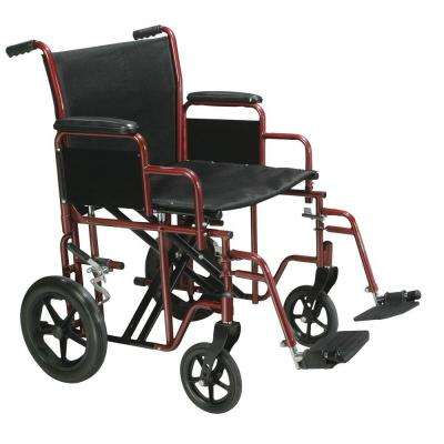Bariatric Transport Wheelchair with Swing-Away Footrest in Red and 22 in. Seat