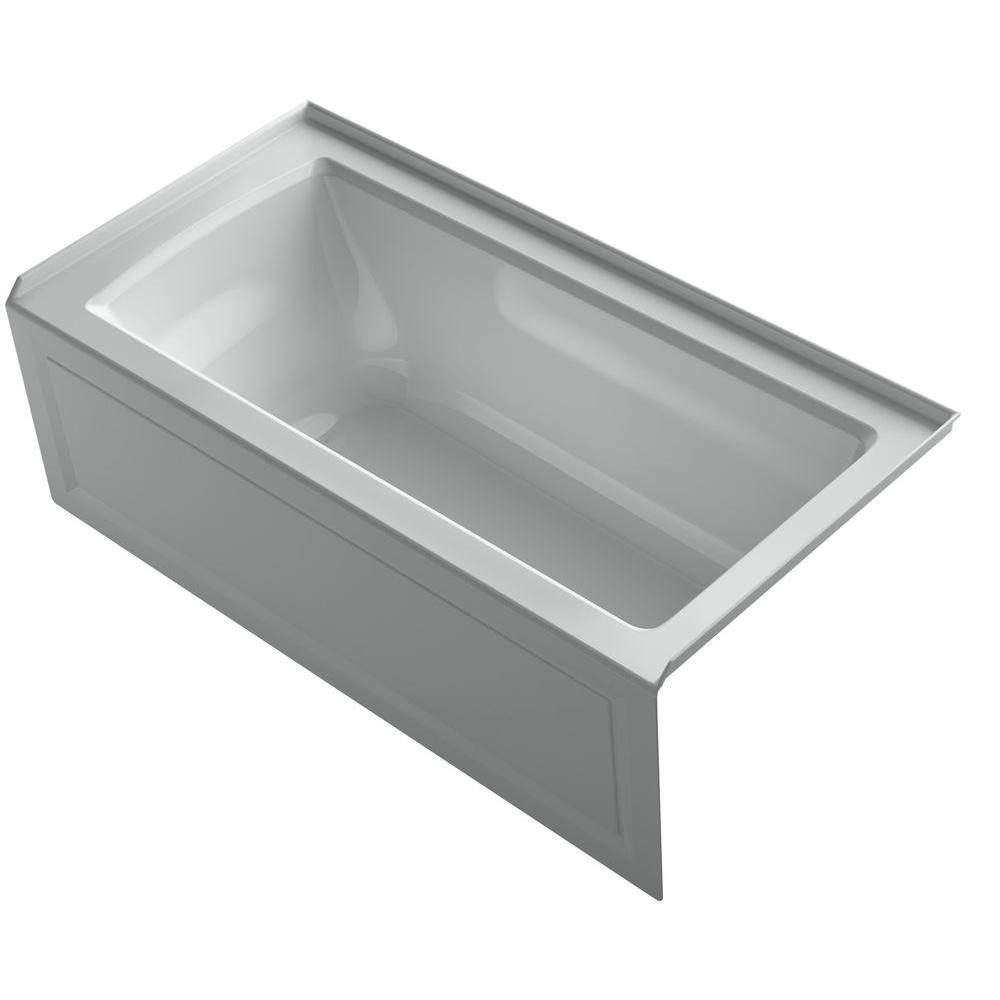 Archer 5 ft. Right Drain Soaking Tub in Ice Grey