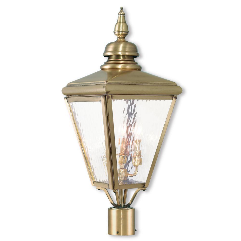 Brass gold post lighting outdoor lighting the home depot cambridge 3 light outdoor antique brass post light mozeypictures Images