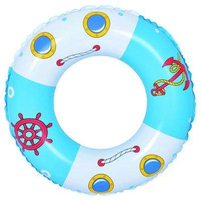 30 in. Blue and White Boat and Anchor Inflatable Inner Tube Float