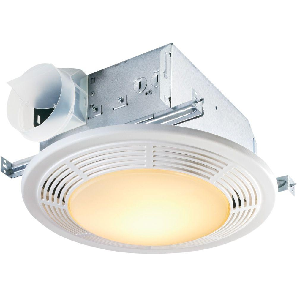 Nutone decorative white 100 cfm ceiling bathroom exhaust - Round bathroom exhaust fan with light ...