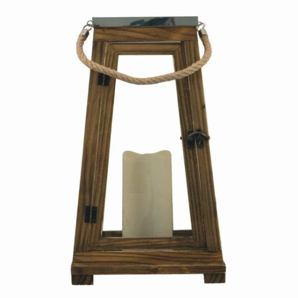 Newport 15 in. Natural Wood Lantern with Stainless Steel Top