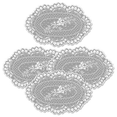 Floret 8 in. x 12 in. White Doily (Set of 4)