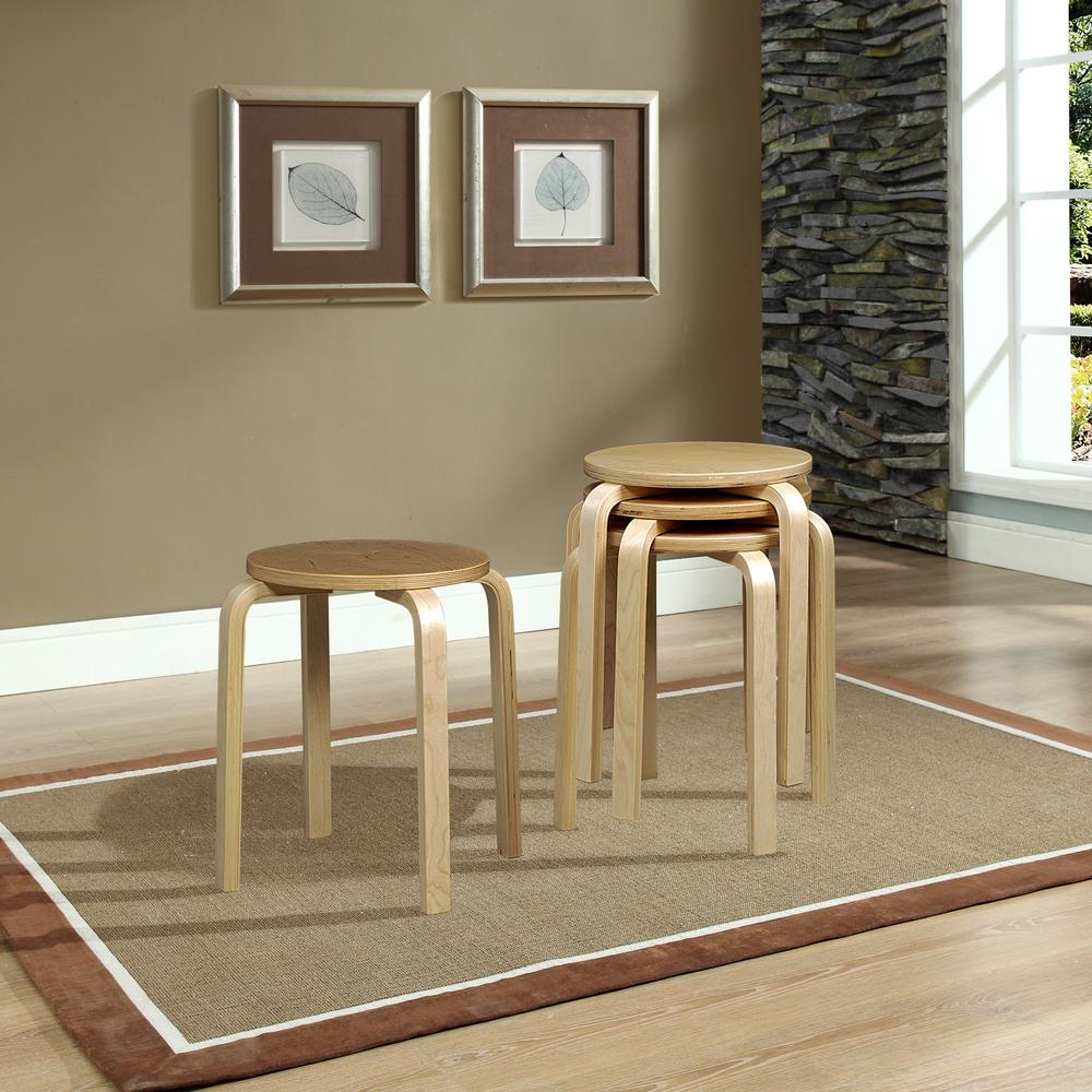 Linon Home Decor 17.72 in. Beige Bar Stool (Set of 4)