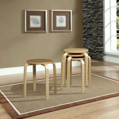 17.72 in. Beige Bar Stool (Set of 4)