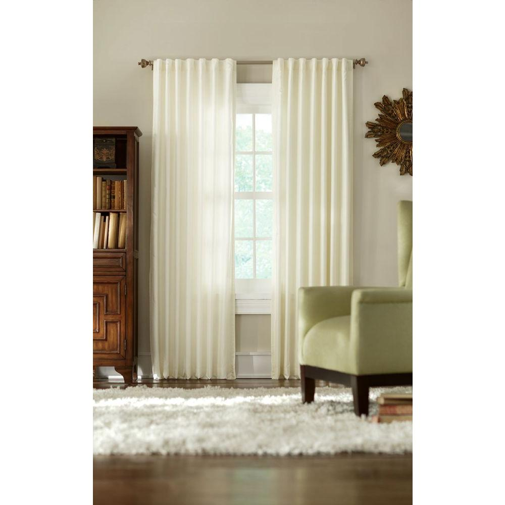 Home Decorators Collection Semi Opaque Cream Slub Faux Silk Back Tab Curtain Price Varies By