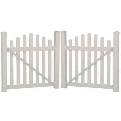 Sanibel 8.8 ft. W x 3 ft. H Tan Vinyl Picket Fence Double Gate