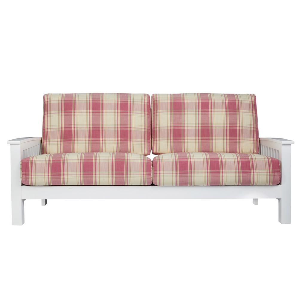Handy Living Omaha Mission Style Sofa With Exposed Wood Frame In