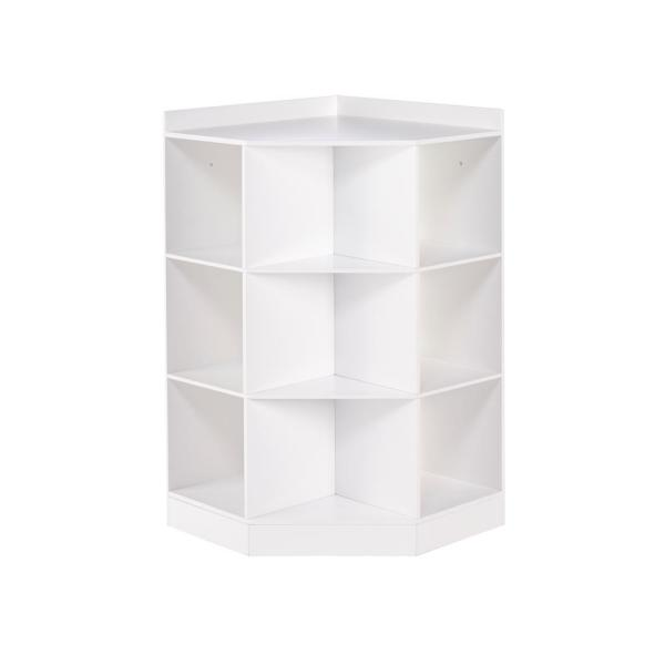 6-Cubby, 3-Shelf Corner Cabinet in White