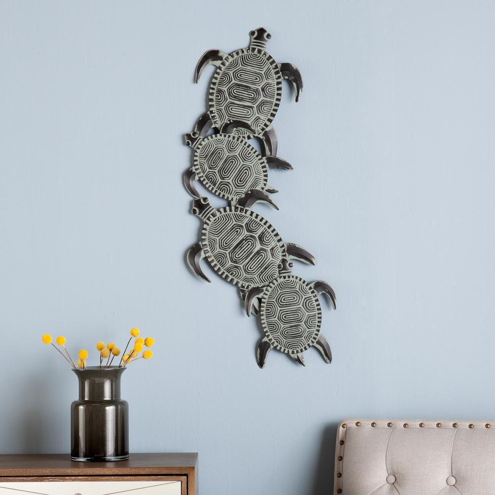12.5 in. x 33.5 in. Metal Sea Turtle Wall Art
