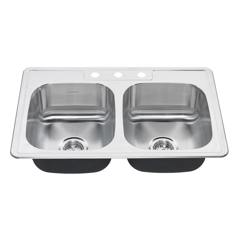 Colony Pro Drop-in Stainless Steel 33 in. 3-Hole Double Bowl Kitchen