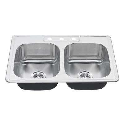 Colony Pro Drop-In Stainless Steel 32.36 in. 3-Hole Double Bowl Kitchen Sink Kit