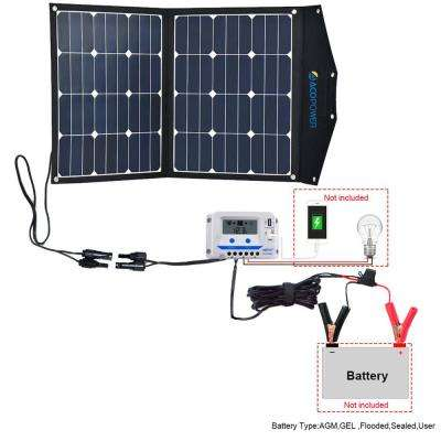 80-Watt Foldable Suitcase OffGrid Solar Panel Kit Suitcase with 10-Amp Charge Controller