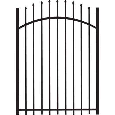 Cascade Standard-Duty 4 ft. W x 5 ft. H Black Aluminum Arched Pre-Assembled Fence Gate
