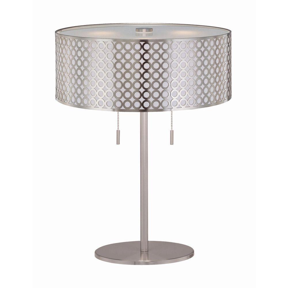Beautiful 22 In. Polished Steel Table Lamp