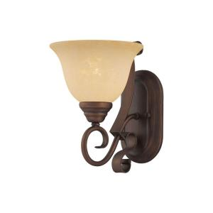 1 Light Rubbed Bronze Sconce With Turinian Scavo Glass